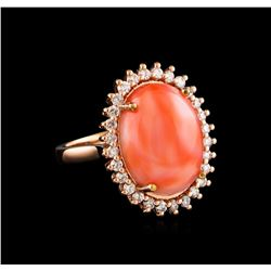 8.75 ctw Coral and Diamond Ring - 14KT Rose Gold