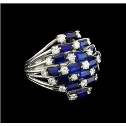 5.00 ctw Sapphire and Diamond Ring - 14KT White Gold