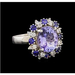 14KT White Gold 4.75 ctw Tanzanite, Sapphire and Diamond Ring