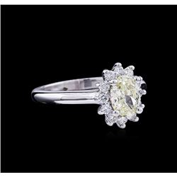 1.37 ctw Fancy Light Yellow Diamond Ring - 14KT White Gold