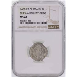 1668CB Germany 3 Kreuzer Silesia-Liegnitz-Brieg Coin NGC MS64