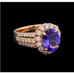 3.12 ctw Tanzanite and Diamond Ring - 14KT Rose Gold
