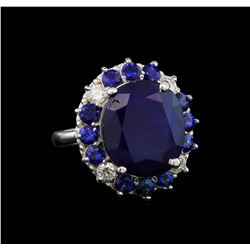 14KT White Gold 15.52 ctw Sapphire and Diamond Ring