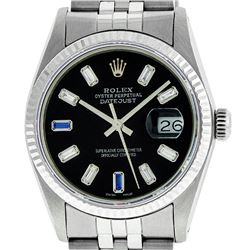 Rolex Mens 36mm Stainless Steel Black Diamond And Sapphire Datejust Wristwatch