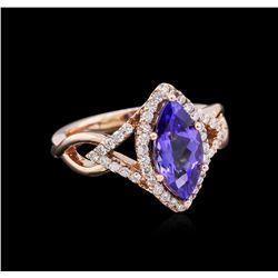 2.13 ctw Tanzanite and Diamond Ring - 14KT Rose Gold