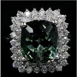 8.39 Carat Oval Cut Natural Green Tourmaline Diamond Band Ring in 14k White Gold