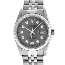 Rolex Mens 36mm Stainless Steel Slate Grey Diamond Datejust Wristwatch