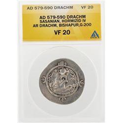AD 579-590 Drachm Sasanian Hormizid IV AR Drachm Bishapur G-200 Coin ANACS VF20