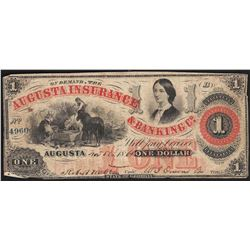 1864 $1 Augusta Insurance & Banking Co. Obsolete Note
