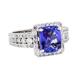 Platinum 3.53 ctw Tanzanite and Diamond Ring