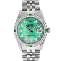 Rolex Mens Stainless Steel Green MOP String Diamond & Emerald Datejust Wristwatc