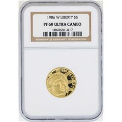 1986-W $5 Liberty Commemorative Gold Coin NGC PF69 Ultra Cameo