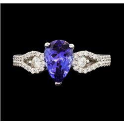 18KT White Gold 1.68 ctw Tanzanite and Diamond Ring