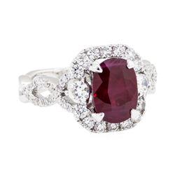 14KT White Gold 2.67 ctw Ruby and Diamond Ring