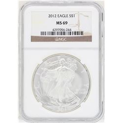 2012 $1 American Silver Eagle Coin NGC MS69