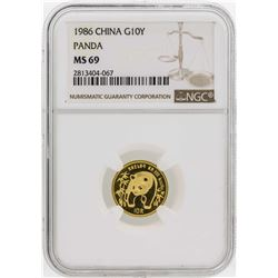 1986 China 1/10 oz. Panda 10 Yuan Gold Coin NGC MS69
