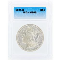 1921-S $1 Morgan Silver Dollar Coin ICG MS65