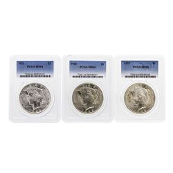 Lot of (3) 1923 $1 Peace Silver Dollar Coins PCGS MS64