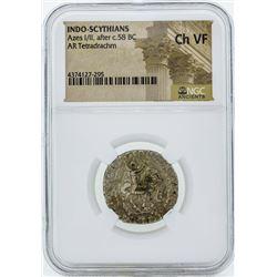 58 BC Indo Scythians Azes I/II AR Tetradrachm Coin NGC Ch VF