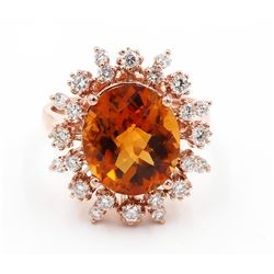 14KT Rose Gold 6.21 ctw Oval Cut Citrine and Diamond Engagement Ring
