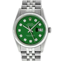 Rolex Mens 36mm Stainless Steel Green Diamond Datejust Wristwatch