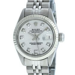 Rolex Ladies Stainless Steel Silver Diamond and White Gold Datejust Wristwatch