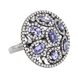 18KT Black Rhodium 1.50 ctw Tanzanite and Diamond Ring