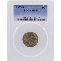 1925-S Buffalo Nickel Coin PCGS MS64