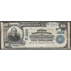 1902 $10 First National Bank of Jefferson City Currency Note CH# 1809
