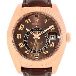 Rolex Sky-Dweller Everose Chocolate Brown Rose Gold Mens Watch