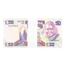 Pack of (100) Zambia 50 Kawacha Uncirculated Notes