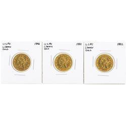 Lot of 1880-1882 $5 Liberty Head Half Eagle Gold Coins
