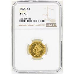 1855 $3 Indian Princess Head Gold Coin NGC AU55