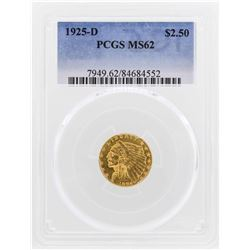 1925-D $2 1/2 Indian Head Quarter Eagle Gold Coin PCGS MS62