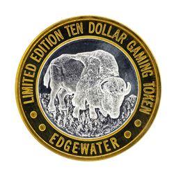 .999 Silver Edgewater Hotel & Casino $10 Casino Limited Edition Gaming Token