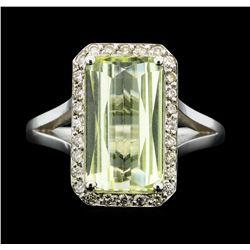 14KT White Gold 3.90 ctw Lemon Quartz and Diamond Ring