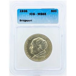 1936 Bridgeport Connecticut Centennial Commemorative Half Dollar Coin ICG MS65