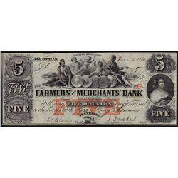 1852 $5 Farmers & Merchants Bank Obsolete Bank Note