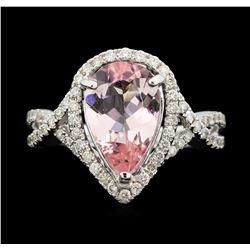 18KT White Gold 2.28 ctw Morganite and Diamond Ring