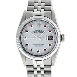 Rolex Mens 36mm Stainless Steel MOP Ruby String Diamond Datejust Wristwatch