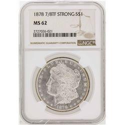 1878 7/8TF Strong $1 Morgan Silver Dollar Coin NGC MS62