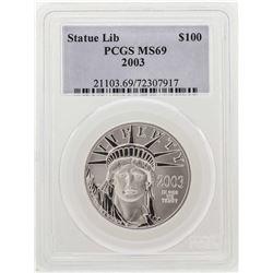 2003 $100 American Eagle Platinum Coin PCGS MS69