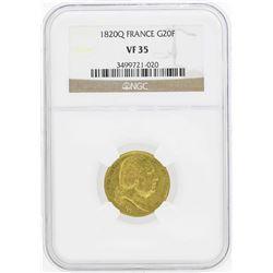 1820Q France 20 Francs Gold Coin NGC VF35