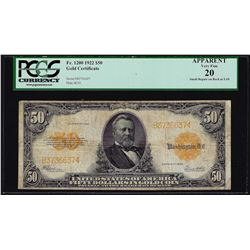 1922 $50 Gold Certificate Note PCGS Very Fine 20 Apparent