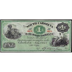 1873 $1 South Carolina Railroad Company Note