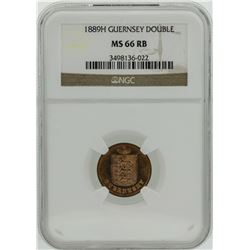 1889H Guernsey Double Coin NGC MS66RB