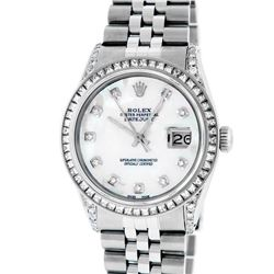 Rolex Mens Stainless Steel MOP Diamond Lugs Datejust Wristwatch