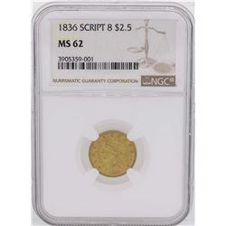 1836 Script 8 $2 1/2 Classic Liberty Head Quarter Eagle Gold Coin NGC MS62
