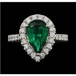 Platinum 1.90 ctw Emerald and Diamond Ring
