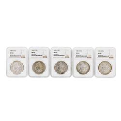 Lot of (5) 1885-O $1 Morgan Silver Dollar Coins NGC MS63